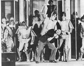 R.U.R. - A scene from the play, showing the robots in rebellion