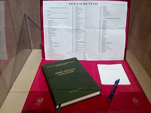 Papal conclave - Cardinal electors receive copies of ballot cards, scrutiny ballots, and a copy of Ordo Rituum Conclavis (Order for Rites in a Conclave). Shown above are the ballot papers of Cardinal Roger Mahony used in the 2013 conclave.
