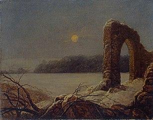 Winterlandschaft mit verfallenem Tor