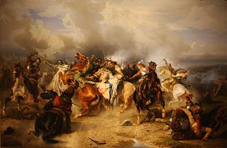 Carl Wahlbom - Painting Death of King Gustav II Adolf at the Battle of Lützen, 1855