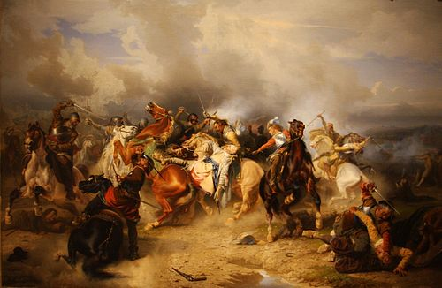 The king's death in his final battle as depicted by Carl Wahlbom in 1855 Carl Wahlbom Lutzen.JPG