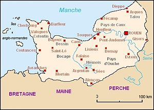 Norman toponymy - Normandy's main towns and cities. Four  have Normanic names: Dieppe, Cherbourg, Honfleur and Barfleur. Harfleur, which was an important port before le Havre's foundation, can be added.