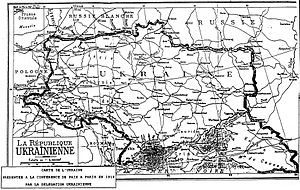 March of Ukrainian Nationalists - Map of the short-lived Ukrainian National Republic as it appeared in 1919, stretching from the San river in present-day Poland to the Kuban region next to the Caucasus mountains in present-day Southern Russia (as referenced in the song).