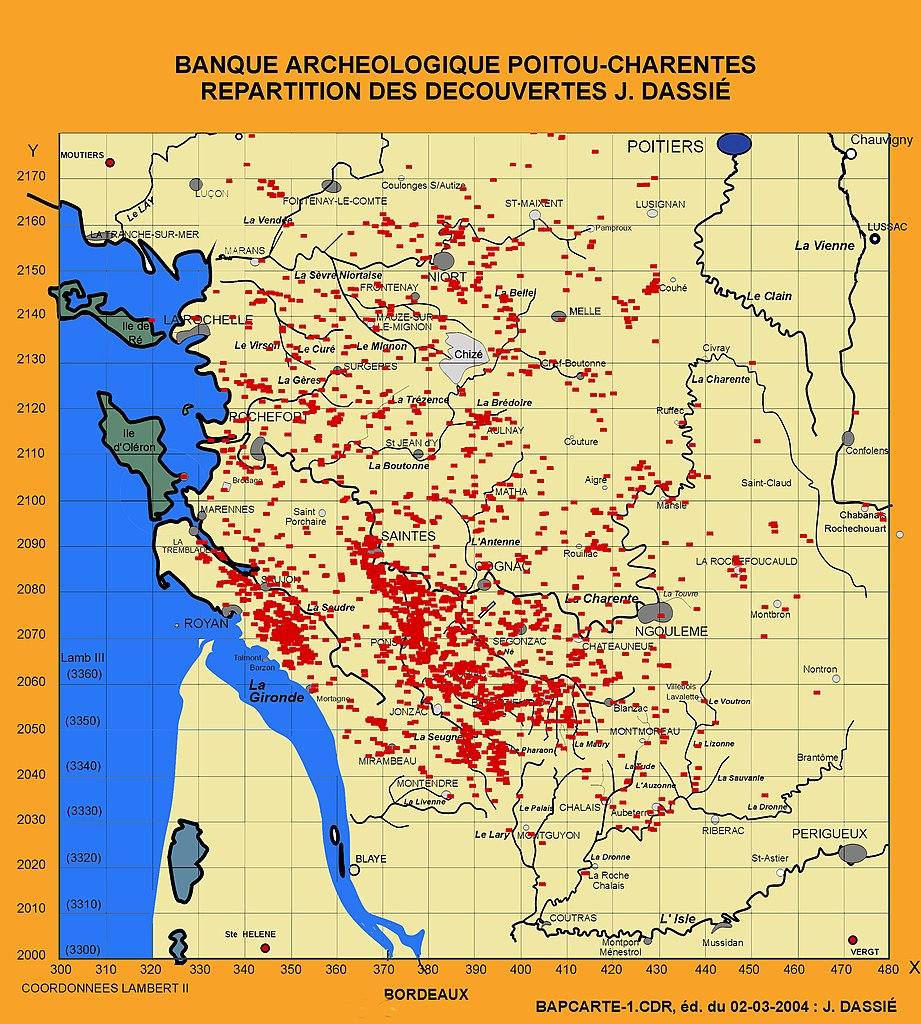 Carte de répartition des découvertes archéologiques en Charente-Maritime de Jacques Dassié