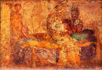 English: Fresco of couple in bed. Man talks to...