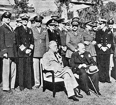 US President Franklin D. Roosevelt and British PM Winston Churchill seated at the Casablanca Conference, January 1943 Casablanca-Conference.jpg