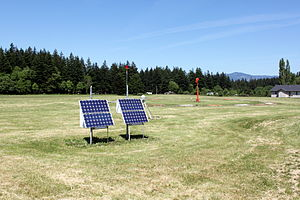 Cascade Locks State Airport - Windsock and solar panels at the airport