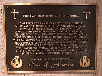 Roman Catholic Diocese of St. Augustine - Catholic Heritage of Florida Plaque in Cathedral-Basilica