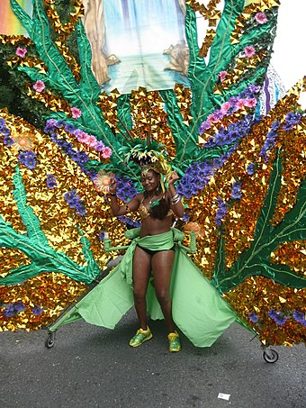 A costume designed by Centennial College's School of Hospitality, Tourism, and Culture for the 2010 parade. Centennial College Caribana 090.JPG