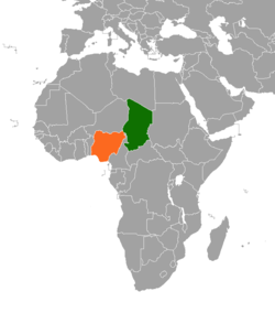 Map indicating locations of Chad and Nigeria