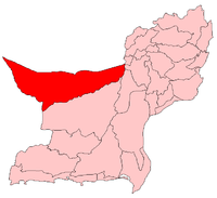 Map of Balochistan with Chagai District highlighted