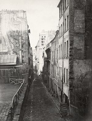 Haussmann's renovation of Paris - The Rue St. Nicolas du Chardonnet, one of the narrow Medieval streets near the Pantheon on the Left Bank, in the 1850s