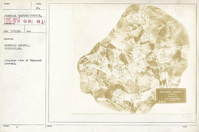 File:Chemical Warfare Service - Plants - Edgewood Arsenal - Airplane view of Edgewood Arsenal - NARA - 26424526.jpg