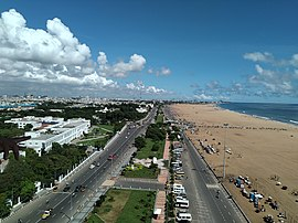 Marina Beach as seen from the Chennai Lighthouse