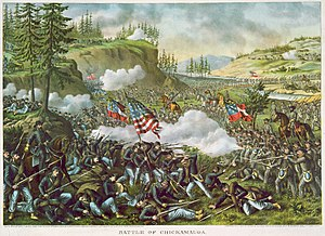 Battle of Chickamauga - Battle of Chickamauga (lithograph by Kurz and Allison, 1890)