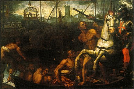 Jacopo Ligozzi, The Return of the Knights of Saint Stephen from the Battle of Lepanto (c. 1610, Santo Stefano dei Cavalieri, Pisa) Chiesa di Santo Stefano Pisa, Jacopo Ligozzi, il ritorno dei Cavalieri di Santo Stefano da Lepanto.jpg