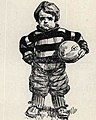 Child football player in art, from- 1905 Webfoot University of Oregon yearbook (page 62 crop).jpg