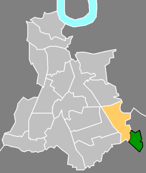 Chinbrook - Chinbrook (green) within the ward of Grove Park (yellow), in the London Borough of Lewisham (light grey)