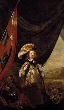 Christian V portrayed as the prince elect in the year 1650, in a painting by Karel van Mander III Christian v of denmark child.jpg