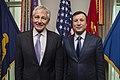 Chuck Hagel and Adilbek Dzhaksybekov at the Pentagon November 13, 2013.jpg