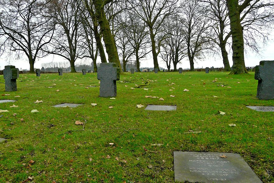 Graves in the German military cemetery in Verlinghem, Nord department, France