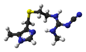 H2 antagonist - Ball-and-stick model of cimetidine, the prototypical H2-receptor antagonist.