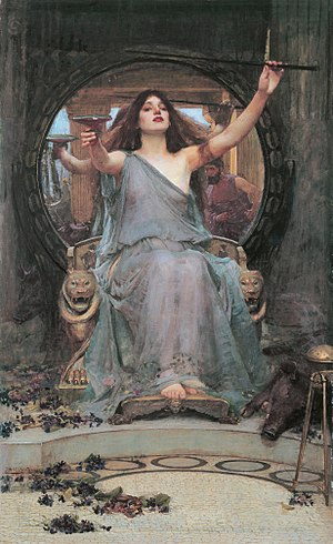 Wand - Circe with her magical wand, painting by John William Waterhouse