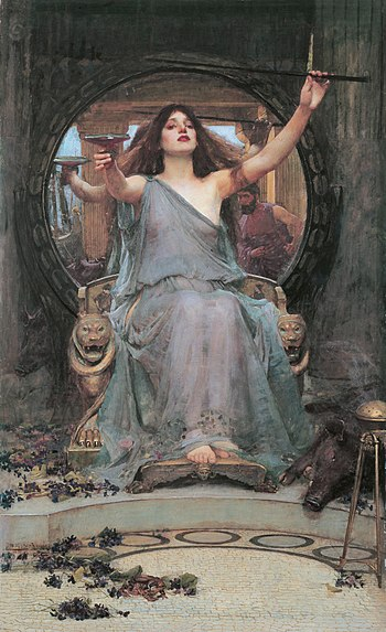 Circe tempting Odysseus, raising a cup.