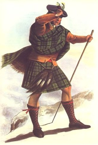 Clan Sutherland - A Victorian era, romanticised depiction of a member of the clan by R. R. McIan, from The Clans of the Scottish Highlands, published in 1845.