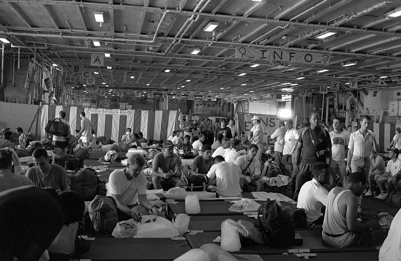 file clark air base and subic bay refugees aboard uss midway  cv-41   june 1991 jpg