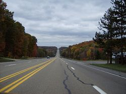 U.S. Route 422 in the wooded hills of Clearfield Township