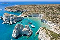 Cliffs and rock formations at Kleftiko on Milos Island, Greece.jpg