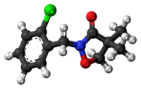 Ball-and-stick model of the clomazone molecule