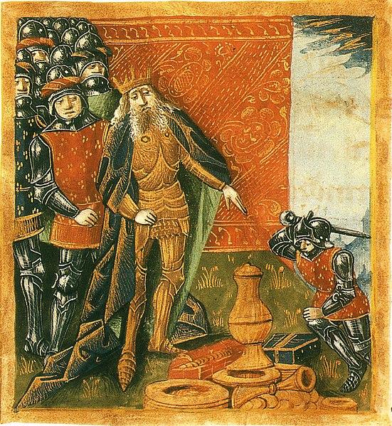Kong Klodvig og Vasen fra Soissons, Grandes Chroniques de France, 1300-t