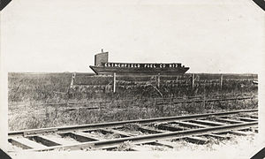 Coal barge north of Texas City terminal tracks.jpg
