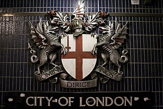 Coat of arms of the City of London - Image: Coat of arms of city of London Blackfriars station