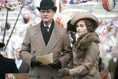 Firth with Helena Bonham Carter filming The King's Speech in December 2009, which became his most critically acclaimed role to date.