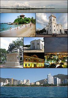 Top: Panorama view of the Cienaga Grande de Santa Marta, from inside the swamp, 2nd left: View of Mirador in Cabo San Juan del Guia, Tayrona Natural Park, 2nd right: Santa Marta Cathedral (La Casa del Farol), 3rd left: Statue of Simon Bolívar in Quinta of Saint Pedro Alejandrino, 3rd upper middle: Colombian National Pantheon in Barrio Mamatoco, 3rd lower middle: Night view of Santa Marta City Hall, 3rd right: Twilight view of Tribute to the Tayrona Ethnicity Square, Bottom: Panoramic view of Acuatico El Rodadero Park and resort area, from the Gaira area