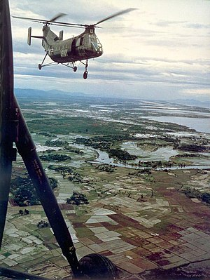 Piasecki H-21 - A Shawnee over rice paddies in Vietnam.