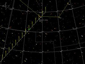 Example of a comet's path plotted by planetarium software (Sky Map Pro)