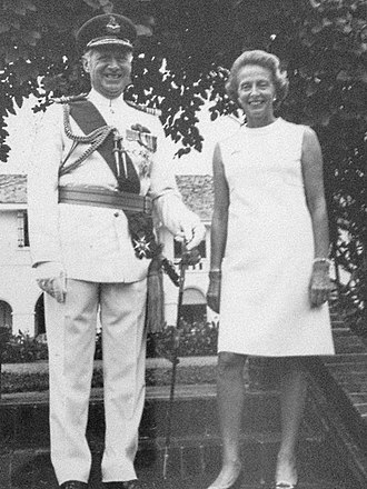 Brian Burnett - Commander-in-Chief Far East Command Brian Burnett on the steps of Command House, Singapore with Lady Valerie Burnett