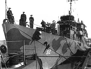 Commissioning of USS Register (APD-92) at the Charleston Naval Shipyard on 11 January 1945