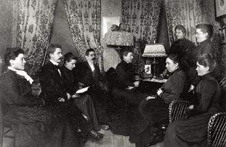 1902 in Sweden - 1902 meeting of the Committee for Women's Agitation, the precursor of the Women's Trade Union. The meeting was held at the residence of Anna Sterky. Kata Dahlström is seen of the left.