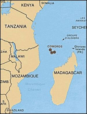 Geography of the Comoros - Map of Comoros and Southern Africa