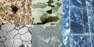 Crystallite - Polycrystalline structures composed of crystallites. Clockwise from top left: a) malleable iron b) electrical steel without coating c) solar cells made of multicrystalline silicon d) galvanized surface of zinc e) micrograph of acid etched  metal highlighting grain boundaries