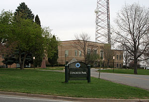 Congress Park, Denver - Part of Congress Park in Denver, with the Denver Police and Fire Communications Center in the background.