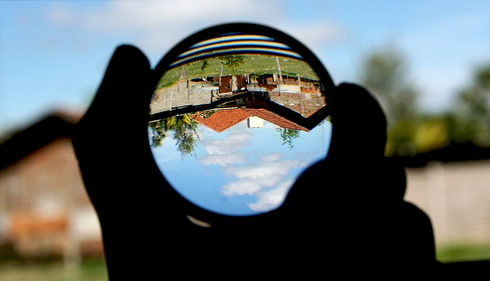 Convex lens (magnifying glass) and upside-down image