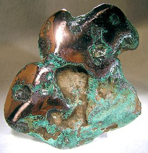 Copper Country - 13-oz. nugget of native copper, Keweenaw County, Michigan. Size 9.5 x 8.6 x 1.7 cm.