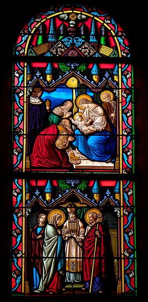Vitrail de l'église Saint-Julien du Mans de Couesmes-en-Froulay, commune de Couesmes-Vaucé (53). Maraige de la Vierge et adoration des mages.