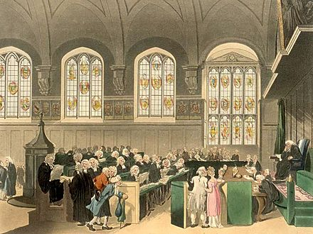 The Court of Chancery in the early 19th century, sitting in Lincoln's Inn Old Hall Court of Chancery edited.jpg
